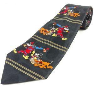 MICKEY Pluto Goofy Picnic Black Silk Striped Tie